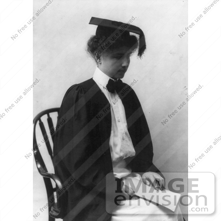 #11303 Picture of Helen Keller in Graduation Gown and Cap by JVPD