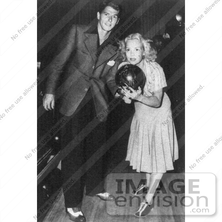 #11349 Picture of Ronald Reagan and Jane Wyman Bowling by JVPD