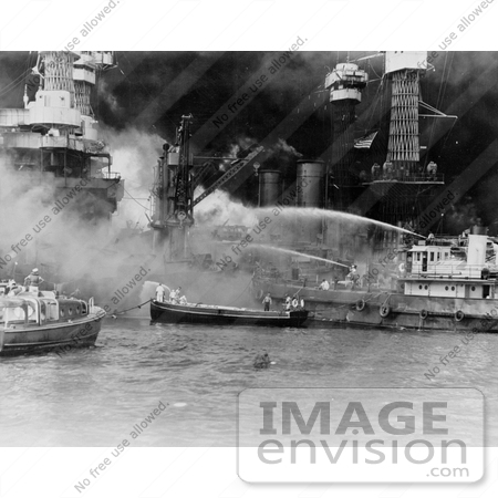 #11402 Picture of Sailors Fighting Flames on the Attack of Pearl Harbor by JVPD