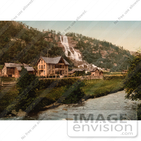 #11530 Picture of Tvindefos Waterfall and Hotel, Hardanger Fjord by JVPD