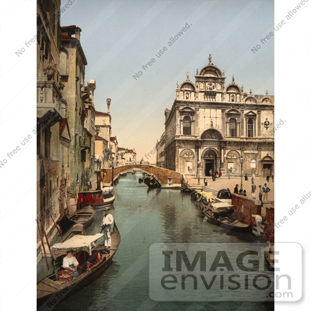 #11642 Picture of Gondolas on Canal, Venice by JVPD