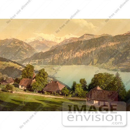#11714 Picture of Homes, Church, Lake Thun and Mountains, Switzerland by JVPD
