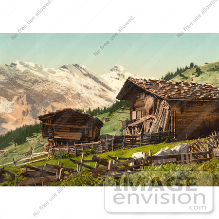 #11728 Picture of a Swiss House Near Mountains by JVPD