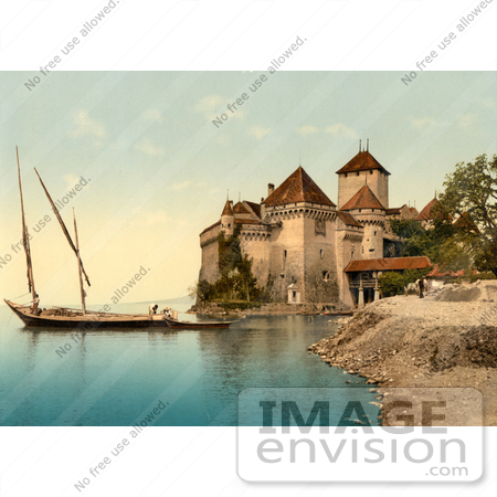 #11739 Picture of Chillon Castle on Geneva Lake, Switzerland by JVPD