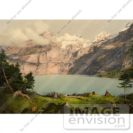 #11745 Picture of Oeschinen Lake and Mountains in Switzerland by JVPD