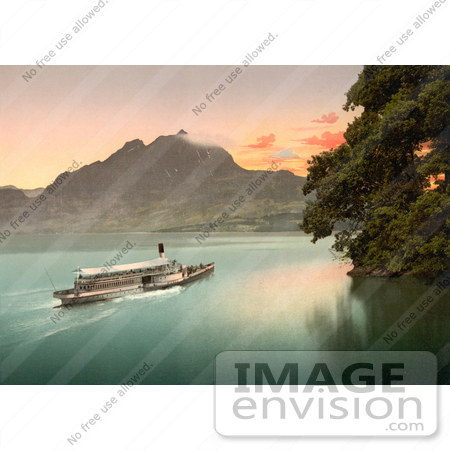 #11786 Picture of a Ship on Lake Lucerne at Sunset by JVPD