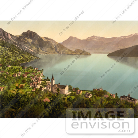 #11806 Picture of the Village of Weggis on Lake Lucerne by JVPD