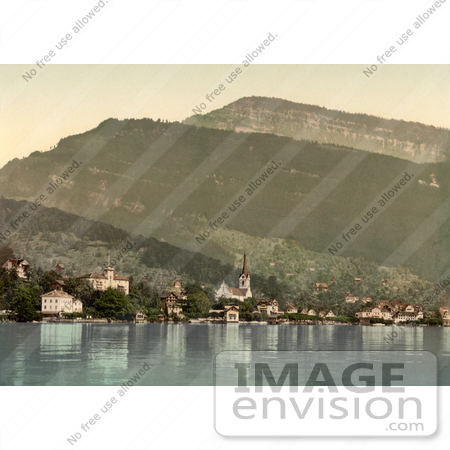 #11809 Picture of the Village of Weggis on Lake Lucerne by JVPD