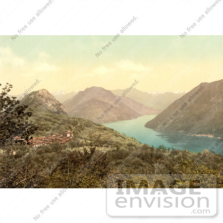 #11812 Picture of the Village of Monte Bre on Lake Lugano, Switzerland by JVPD