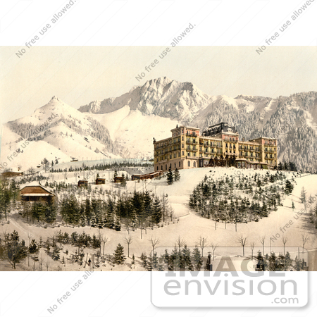 #11910 Picture of Hotel de Caux, ochers de Naye and Dent de Jaman in Winter by JVPD
