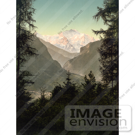 #11912 Picture of Jungfrau Mountain and Interlaken, Switzerland by JVPD