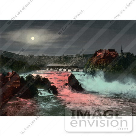 #11952 Picture of a Bridge, Rhine Falls and Laufen Castle at Night by JVPD