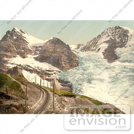 #12012 Picture of Train Tracks Near Jungfrau, Eiger and Monch Mountains by JVPD