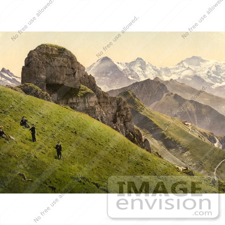 #12026 Picture of People on a Hillside Near the Swiss Alps Mountains by JVPD