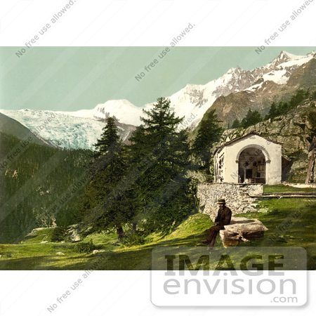 #12073 Picture of a Man Seated Near a Chapel in the Swiss Alps by JVPD
