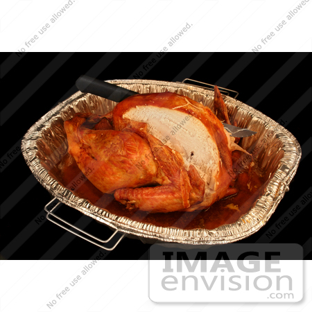 #1212 Thanksgiving Photography of a Cut Turkey with a Knife in a Pan by Kenny Adams
