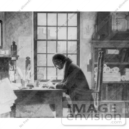 #12288 Picture of Benjamin Franklin Working at a Desk by JVPD