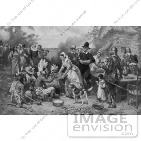 #1235 Stock Photo of The First Thanksgiving, 1621 by Jean Louis Gerome Ferris by JVPD