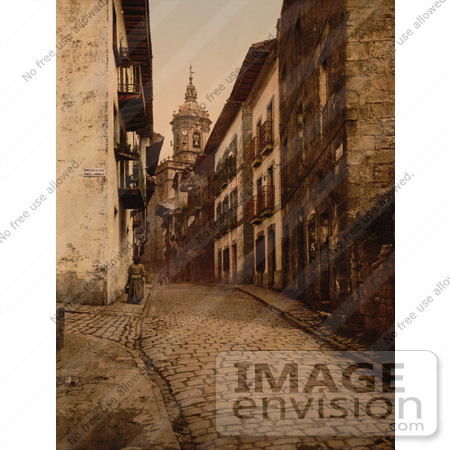 #12353 Picture of a Cobbled Street Scene in Fuenterrabia, Spain by JVPD