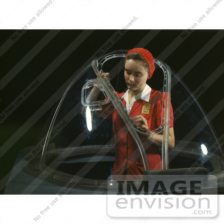 #1239 Photo of a Riveter Woman Working on a Nose Section of a Bombardier by JVPD