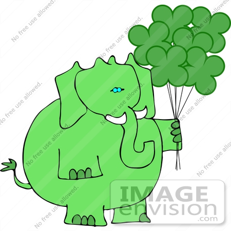 #12396 St Paddy's Elephant With Balloons Clipart by DJArt