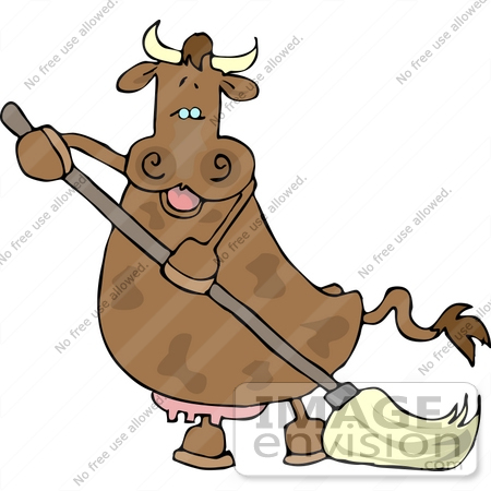 #12415 Brown Cow Mopping Clipart by DJArt