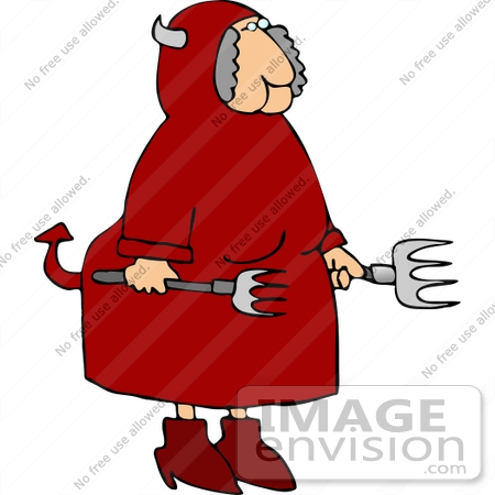 #12438 Female Devil With Pitchforks Clipart by DJArt