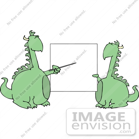 #12446 Dragons by a Blank Board Clipart by DJArt