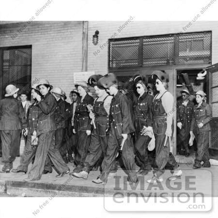 #1245 Photo of Riveter Women Welders on the Way to Their Job at the Todd Erie Basin Drydock by JVPD