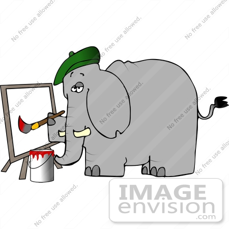 #12452 Artist Elephant Creating a Painting Clipart by DJArt