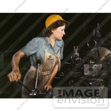 #1246 Photo of a Female Riveter Lathe Operator Machining Parts for Transport Planes by JVPD