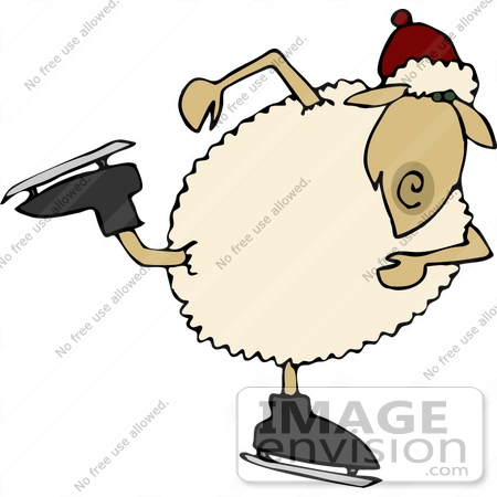 #12465 Ice Skating Sheep Clipart by DJArt
