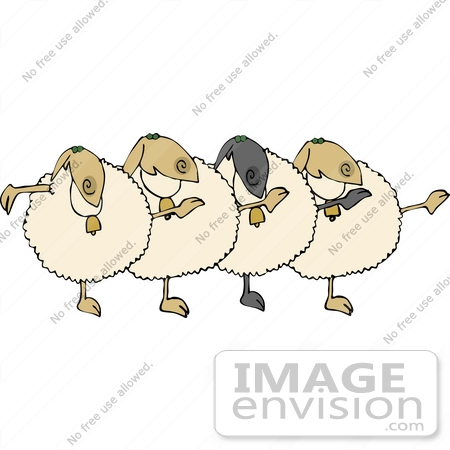 #12471 Singing and Dancing Sheep Clipart by DJArt