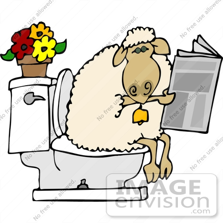 #12481 Sheep Using a Toilet Clipart by DJArt
