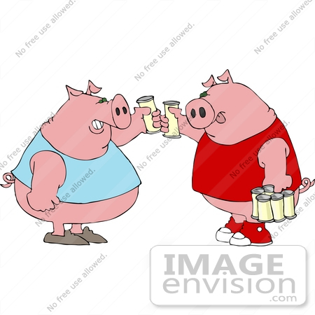 #12499 Pigs Drinking Beer Clipart by DJArt
