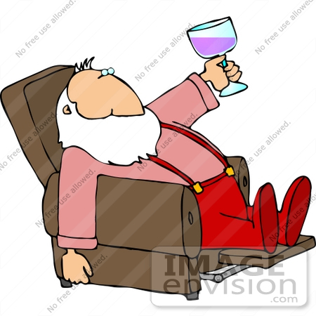 12511 Santa Drinking Wine In A Recliner Clipart By DJArt