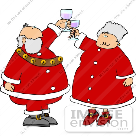 #12514 Mrs and Mr Santa Claus Toasting With Wine Clipart by DJArt