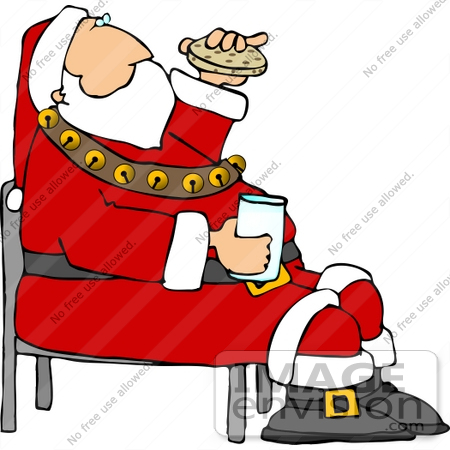 Clipart of santa in his red suit with white trimmings hat and a sash