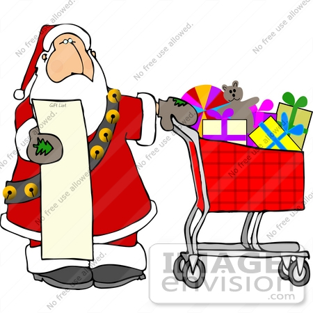 Santa With a Shopping List and a Cart Full of Toys Clipart ...