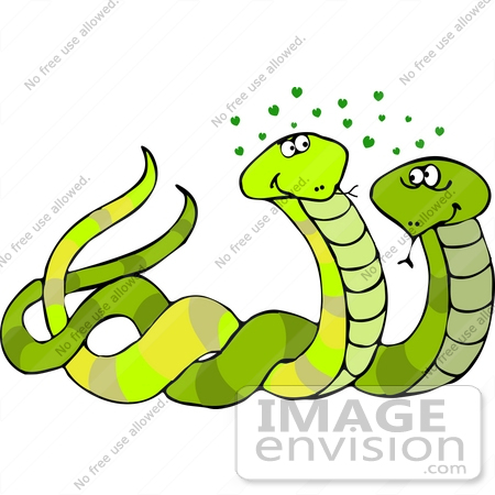 #12525 Two Snakes in Love Clipart by DJArt