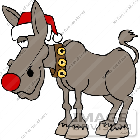 #12532 Christmas Ass, Donkey, Burro Clipart by DJArt
