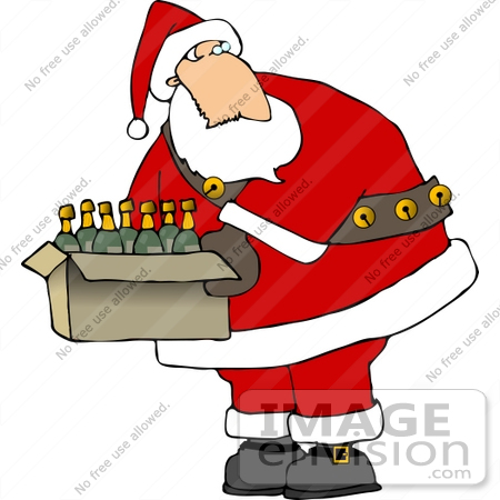 #12540 Santa With a Box of Wine Clipart by DJArt