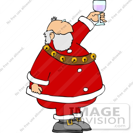 #12542 Santa Toasting With Wine Clipart by DJArt