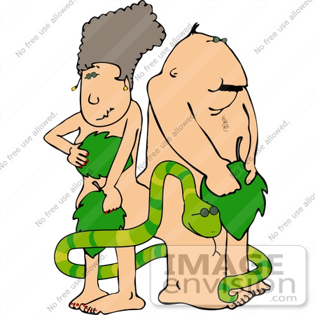 #12551 Adam and Eve With the Snake Clipart by DJArt
