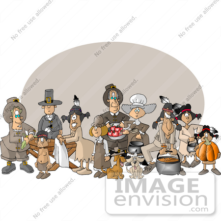 #12553 Pilgrims, Dogs, and Native American Indians on Thanksgiving Clipart by DJArt