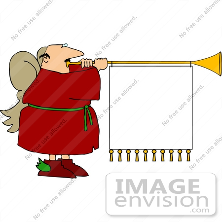 #12563 Angel Blowing a Horn With a Blank Sign Clipart by DJArt