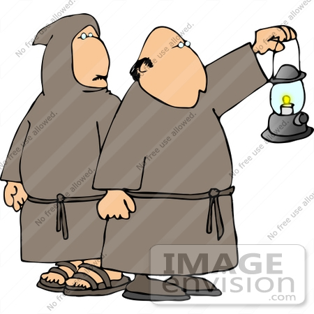 #12581 Robed Catholic Monks Carrying a Lantern Clipart by DJArt