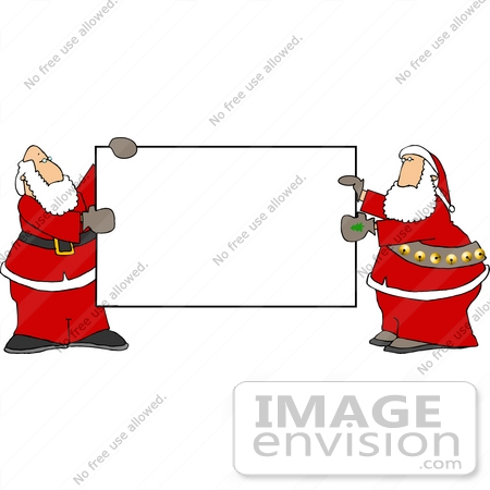 #12583 Two Santas Holding a Blank Sign Clipart by DJArt