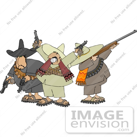 #12589 Three Banditos Clipart by DJArt