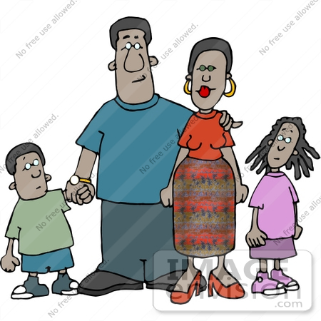 #12617 African American Family Clipart by DJArt